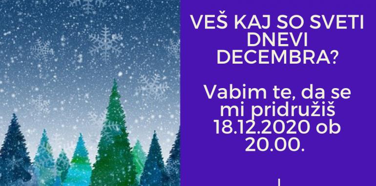 Sveti dnevi decembra - mističen večer z meditacijo