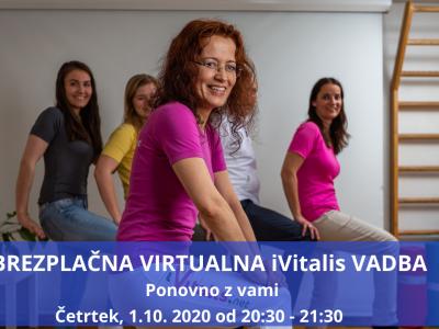 Brezplačna Virtualna iVitalis Vadba - PONOVNO Z VAMI